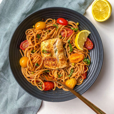 Cod Pasta with Red Pesto and Peas